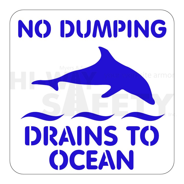 NO DUMPING DRAINS TO OCEAN w Dolphin