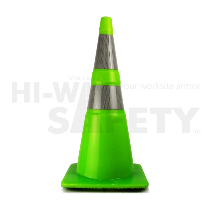 """28"""" Traffic Cone with 4in and 6in Recessed Reflective Collar, Fluorescent Green, 7 lb"""