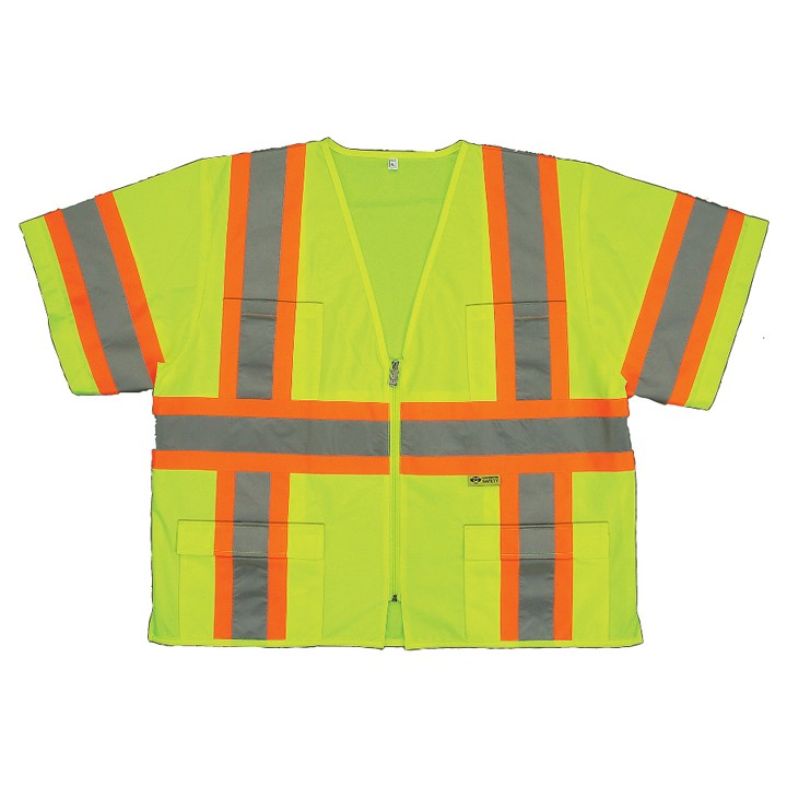 2W ANSI Class III Sleeved Mesh Vest, Lime