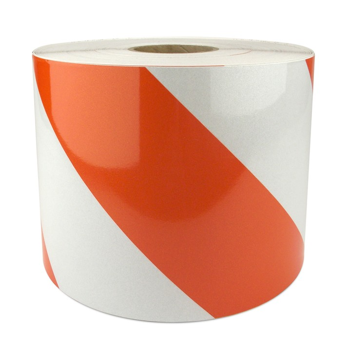 "Engineer Grade Work Zone Sheeting Series CW80, 4"" Orange and White Stripes"