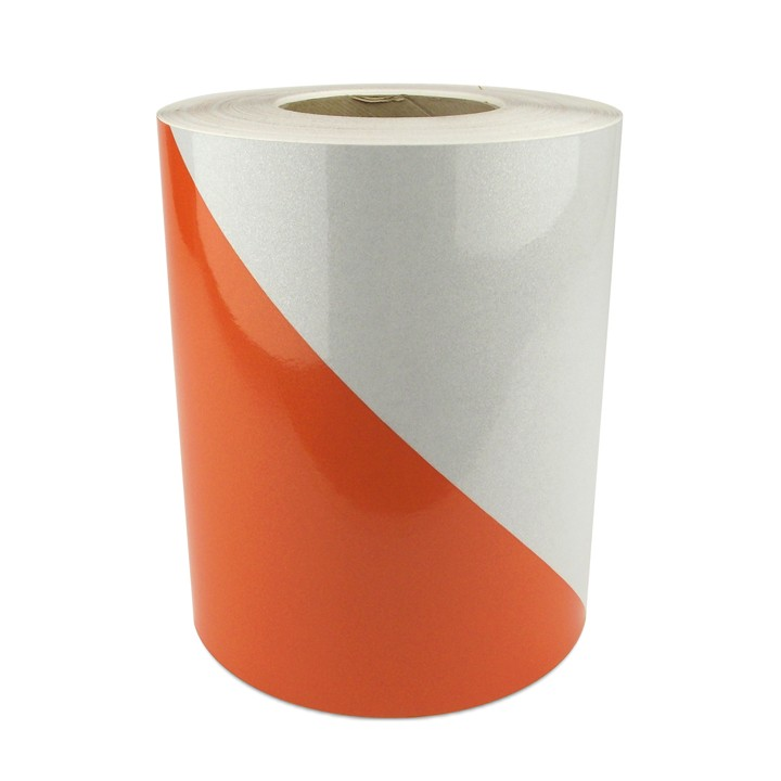 Engineer Grade Work Zone Sheeting Series CW80, 6 inch Orange and White Stripes