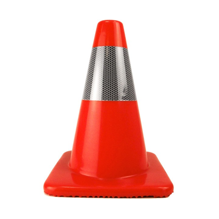 "12"" Traffic Cone, Reflective Collar, Orange, 1.5 lb"
