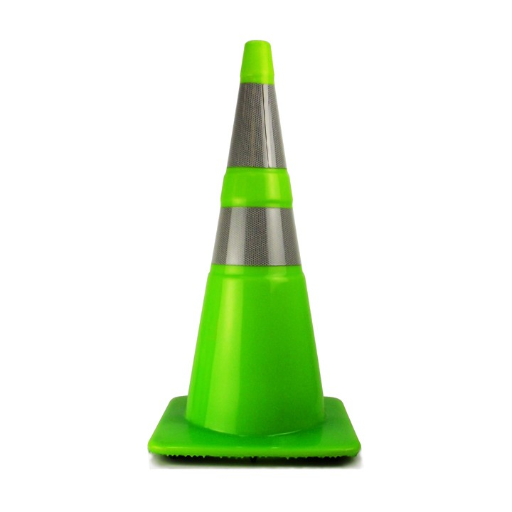 "28"" Traffic Cone with 4in and 6in Recessed Reflective Collar, Fluorescent Green, 7 lb"