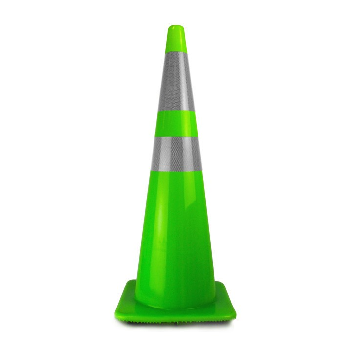"36"" Traffic Cone with 4in and 6in Reflective Collars, Fluorescent Green, 10 lb"