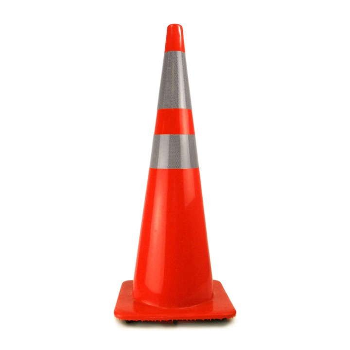 "36"" Traffic Cone with 4in and 6in Recessed Reflective Collars, Orange, 12 lb"