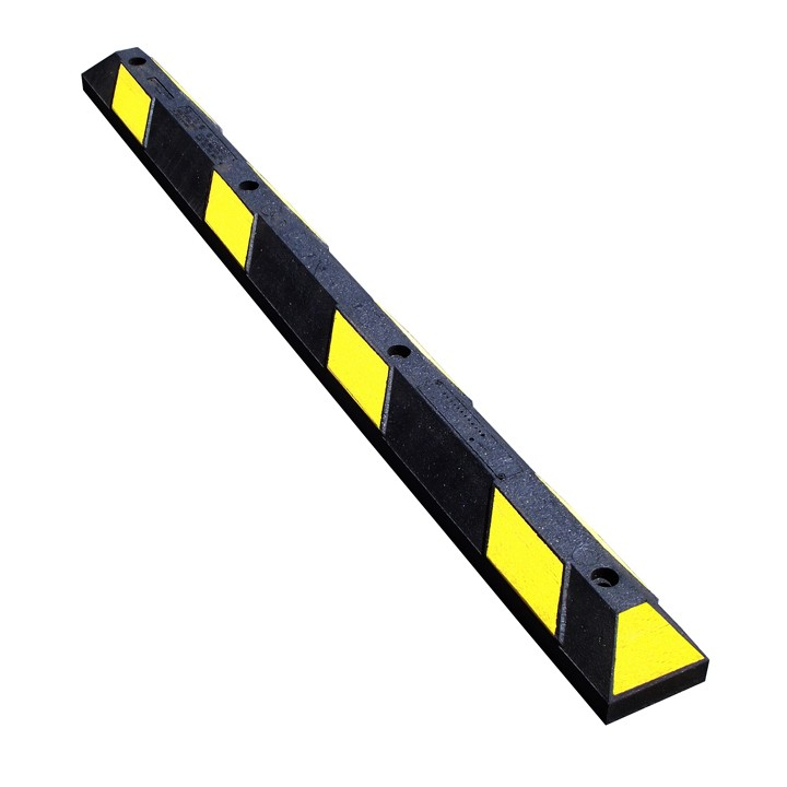 """Recycled Rubber Parking Stops, Black with Yellow Stripes, 72"""" Long"""