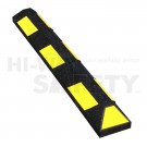 "Recycled Rubber Parking stops, Black with Yellow Stripes, 48"" long"