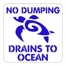 NO DUMPING DRAINS TO OCEAN w Turtle